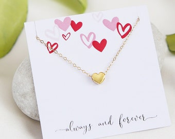 Mothers Day Gift, Mom Necklace, Gold Heart Necklace, Tiny Silver Heart Necklace, Mothers day Jewelry, Love Necklace, Jewelry Gift for Mom