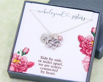 Best Friend Necklace, Personalized Gift for Sister, Birthday Gift, Name Necklace, Birthstone Jewelry, Soul Sister Gift, Silver Heart Pendant