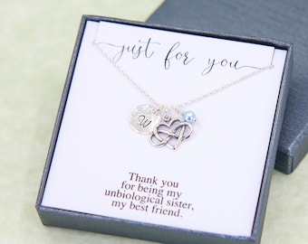 Unbiological Sister Necklace, Best Friend Gift, Personalized Gift for Friend, Silver Initial Necklace, Birthstone Necklace, Bridesmaid Gift
