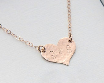SALE, Initial Necklace, Heart Necklace, Monogram Necklace, Rose Gold Heart Necklace, Personalized Heart Necklace, Heart Jewelry,Gift for Her