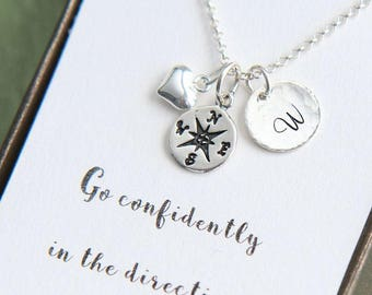 Graduation Gift, High School Graduation, Compass Necklace, Personalized Necklace, Initial Necklace, Go confidently, Graduation Gift for Her