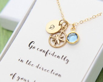 Inspirational Necklace, Inspirational Gift, Gold Compass Necklace, Personalized Necklace, Graduation Gift for Her, 18th Birthday Necklace