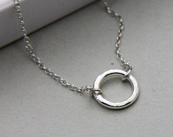 Eternity Bracelet, Sterling Silver Circle Bracelet, Ring Bracelet, Karma Bracelet, Hammered Ring Bracelet, Infinity Bracelet, Gift for Her