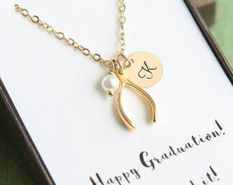 Personalized Wishbone Necklace, Tiny Wishbone Necklace, Good Luck Gift, Wishbone Jewelry, Good Luck Jewelry, Initial Birthstone Necklace