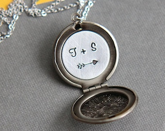 Personalized Necklace, Locket Necklace, Personalized Locket, Initial Locket, Silver Locket Necklace, Initial Necklace, Anniversary Gift