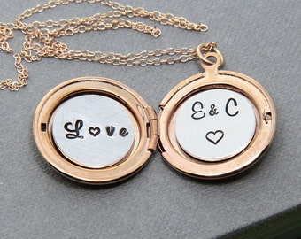 Personalized Locket Necklace, Locket Necklace, Rose Gold Locket, Initial Locket, Initial Necklace, Unique Gift for Women, Girlfriend Gift
