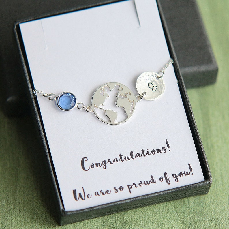 Silver Compass Distance Jewellery Graduate Jewellery Gift Travelling Gift Sterling Silver World Map /& Compass Bracelet 925 Silver