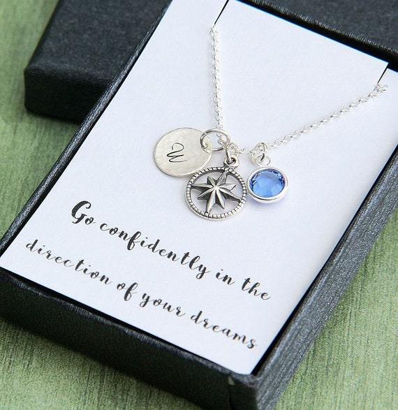 Graduation Gift for Her Compass Necklace Graduation Necklace High School Graduation College Graduation Gift Personalized Necklace
