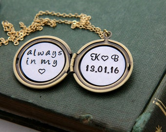 Personalized Locket Necklace, Locket Necklace, Initial Necklace, Anniversary Date Necklace, Custom Necklace, Personalized Gift for Women