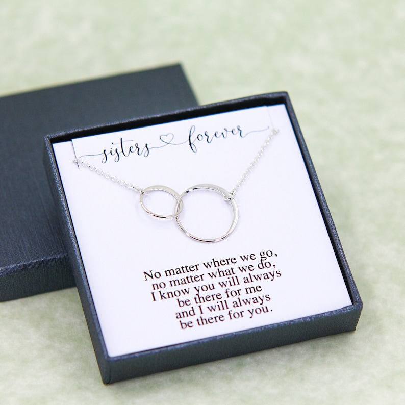 Sister Necklace Birthday Gifts for Her Two Sister Necklace image 1