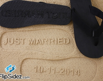 09025558e Custom JUST MARRIED flip flops - Wedding   Honeymoon Sandals  check size  chart