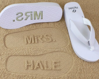 6848b375f6c Personalized Bride Wedge Flip Flops for Beach Weddings - Personalize With Your  Own Design  check size chart