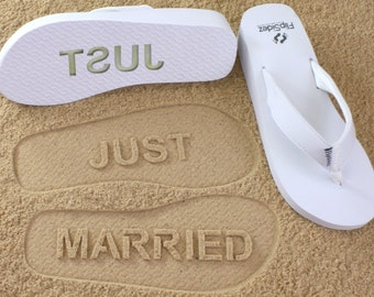 91dde55508ce Custom Just Married Wedge Flip Flops - Personalized Sand Imprint for Wedding
