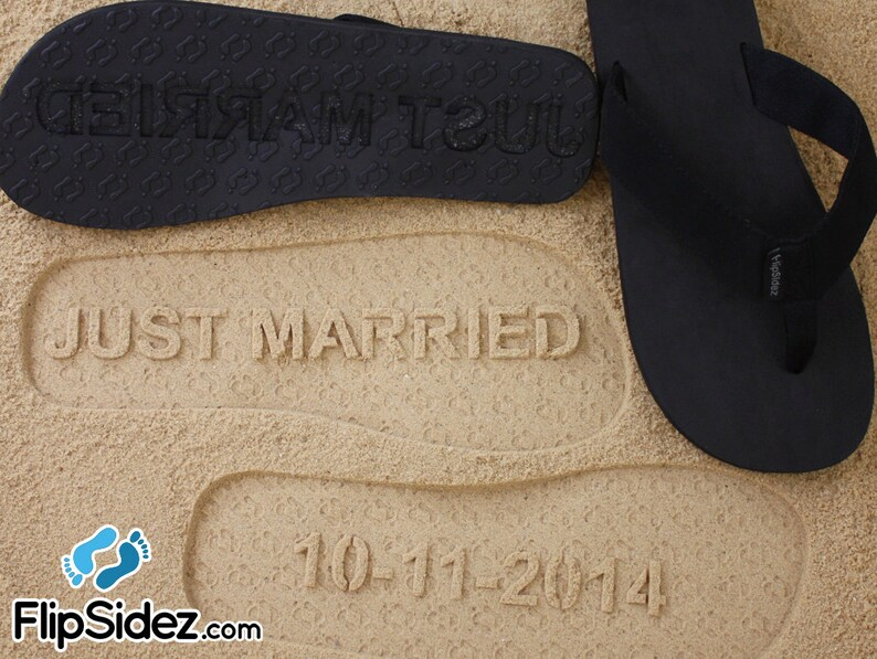 8100c255067cc Custom JUST MARRIED flip flops Wedding   Honeymoon Sandals