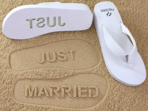 7f9a604698448 Custom Just Married Wedge Flip Flops Personalized Sand