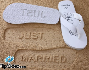 JUST MARRIED - Wedding & Honeymoon Sandals. Ready to Ship *check size chart, see 3rd product photo*