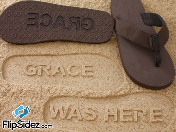 32bdfa596b81c Custom NAME WAS HERE Flip Flops - Personalized Sand Imprint Sandals for  Everyone *check size chart, see 3rd product photo*