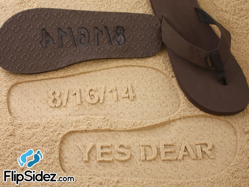 e35bdad1e Custom Bride or Groom Flip Flops Sand Imprint Sandals