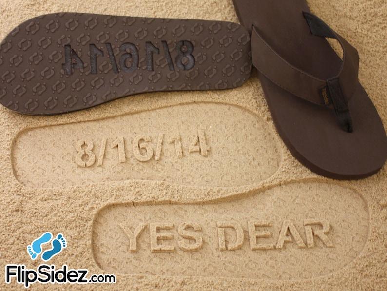 bbedd8511d0fa Custom Bride or Groom Flip Flops Sand Imprint Sandals