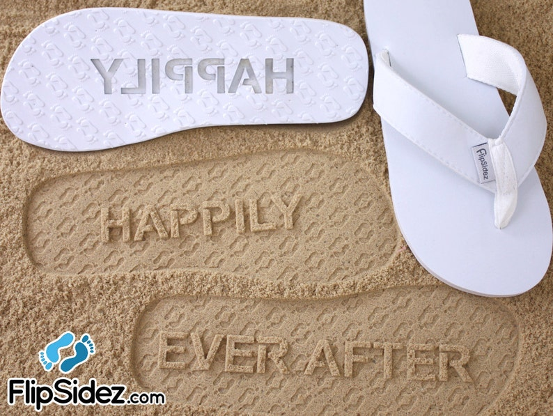 c146abc5e7696 Custom Happily Ever After Sandals - Personalized Sand Imprint for Wedding,  Bridal, Honeymoon *check size chart, see 3rd product photo*
