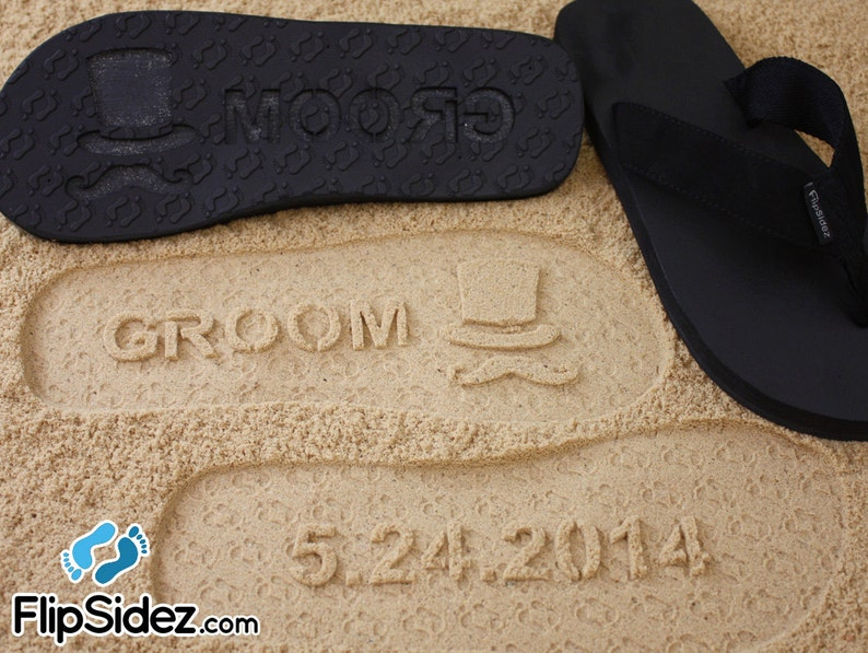 1c5a2fbc2ee05 Custom Groom   Bride Flip Flops Personalized Sand Imprint
