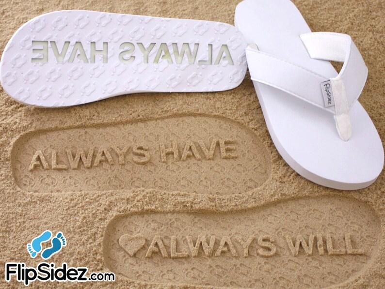 1df450e903da Custom Anniversary Flip Flops Personalized Sand Imprint