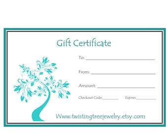 Gift Certificate- Give The Gift Of Twisting Tree Jewelry