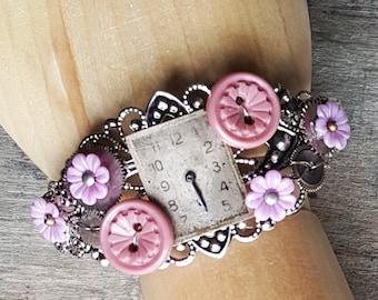 Steampunk Victorian Silver Filigree Lace Cuff Bracelet, Upcycled Cuff Bracelet, Women Cuff Bracelet, Dusty Pink Lilac Bracelet, Flower Cuff