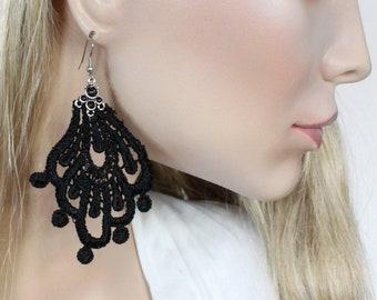 Black Lace Statement Earrings with Hypoallergenic Stainless Steel Hook, Lightweight Oversize Earrings, Crochet Tatted Fabric Boho Earrings