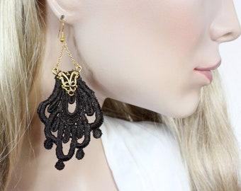 Brown Lace Statement Earrings with Gold Filigree Stainless Steel Hook, Lightweight Oversize Earrings, Crochet Tatted Fabric Boho Earrings