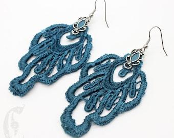 Teal Blue Lace Statement Earrings with Hypoallergenic Steel Hook, Lightweight Oversize Earrings, Crochet Tatted Fabric Boho Earrings