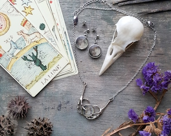 Silver Crow Raven Claw Necklace with Moon, Gothic Witchy Necklace, Stainless Steel Necklace