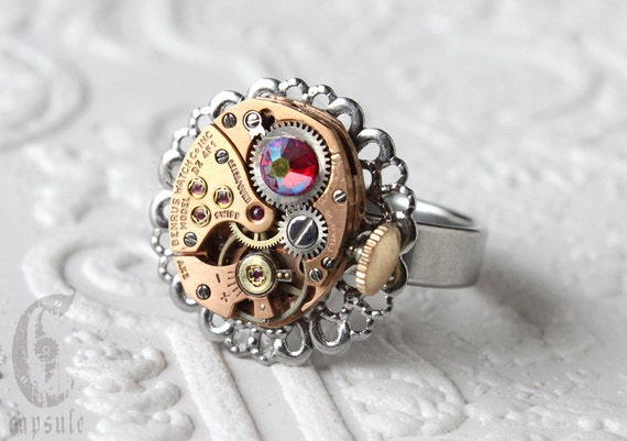 Ring Steampunk Rose with Red