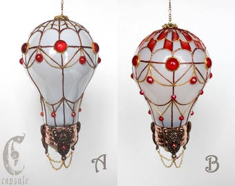 Decorative Ornament, Frost White Stained Glass Light Bulb Hot Air Balloon with Red Decoration, Holiday Christmas Tree, Window Ornament