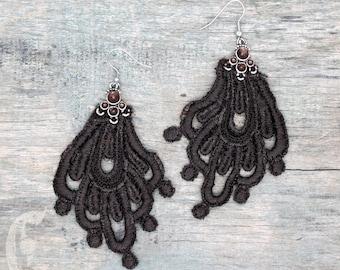 Brown Lace Statement Earrings with Hypoallergenic Stainless Steel Hook, Lightweight Oversize Earrings, Crochet Tatted Fabric Boho Earrings
