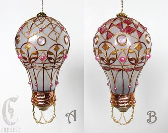 Decorative Ornament, Frost White Stained Glass Light Bulb Hot Air Balloon with Pink Decorations, Holiday Christmas Tree, Window Ornament