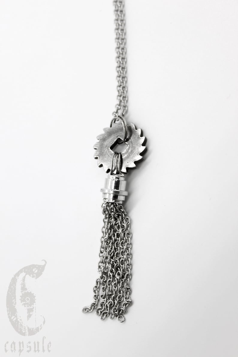 Long Silver Necklace in Stainless Steel Steampunk Silver Necklace Gear Necklace Gift for Her Tassel Necklace