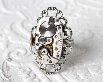 Steampunk Victorian Silver Oval Filigree Adjustable Ring with Vintage Antique Watch Movement