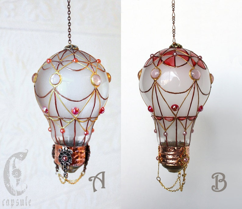 Decorative Ornament Frost White Stained Glass Light Bulb Hot Air Balloon With Pink Decoration Holiday Christmas Tree Window Ornament