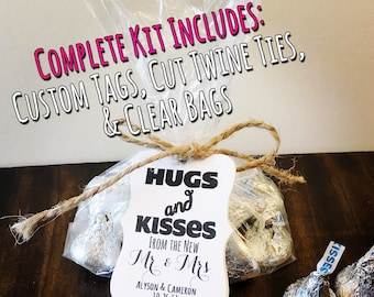 Select Amount 100 - 300 Unique Hugs and Kisses from the New Mr. and Mrs. Custom Summer Wedding Favor Kit. Hershey Kisses. Cheap Favors. DIY.