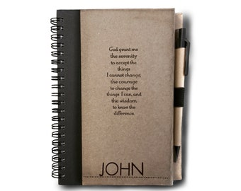 Serenity Prayer Journal Notebook With Pen. With/Without NAME. Addiction. Recovery. Gift. Sober Birthday. Rehab. AA Birthday. Sober Living.