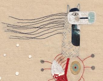 Art print A4 Illustration - The millipede horse- imaginary bestiary