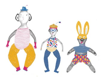 Set of 3 articulated paper jumping puppets  DIY