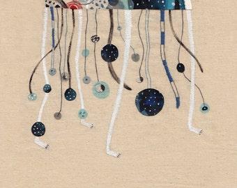 Art print A4 Illustration - The jellyfish wolf