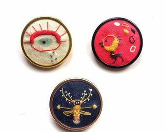 Hand embroidered brooch- pin button- chick, insect, eye