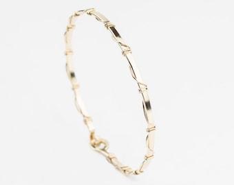 14k Gold Bracelet, Thin Bangle, Gold Bangle, 14k Gold Filled Bracelet, Hammered Bangle, Thin Gold Bracelet, Hand Forged, Minimalist Jewelry