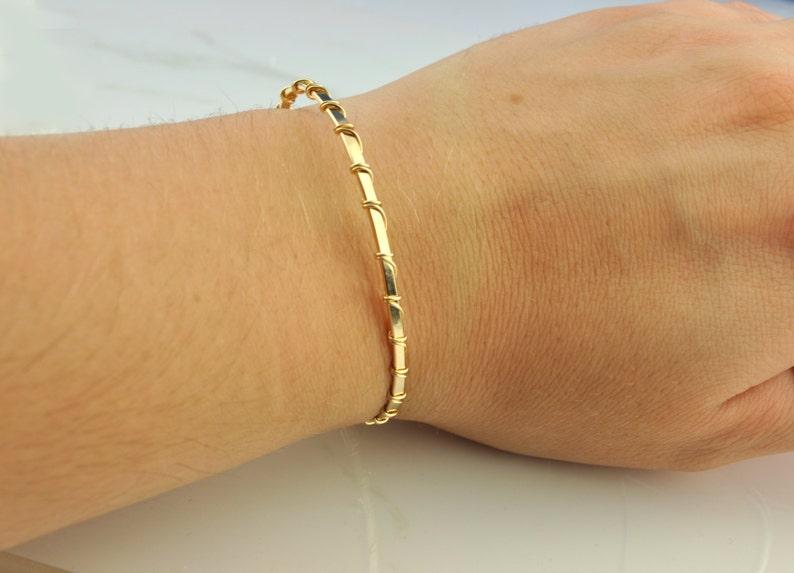 14k Rose Gold Bracelet Thin Bangle Wire Wrapped Bangle 14k   Etsy