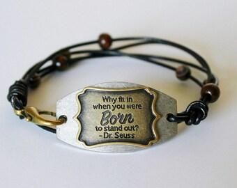 Black Multi Wrap Boho Leather Bracelet w. Metal Plate - Spiritual/ Inspirational Saying