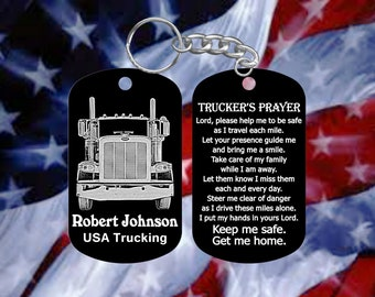 Peterbilt Truck Driver Gift with Trucker's Prayer Dog Tag Keychain - Super Hard Anodized - Personalized