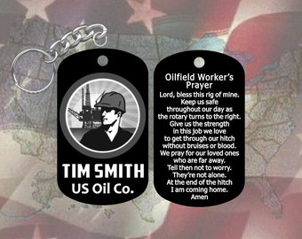 oilfield worker dog tag keychain with prayer super hard anodized personalized with name and company